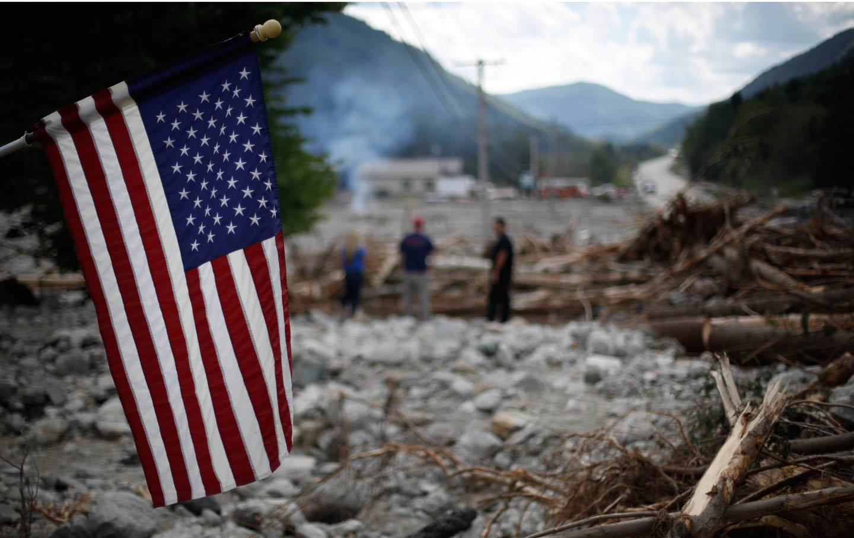 US Flag Post-Hurricane Irene