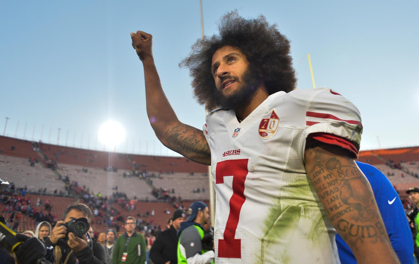 5ac767803 San Francisco 49ers quarterback Colin Kaepernick after a victory against  the Rams in Los Angeles