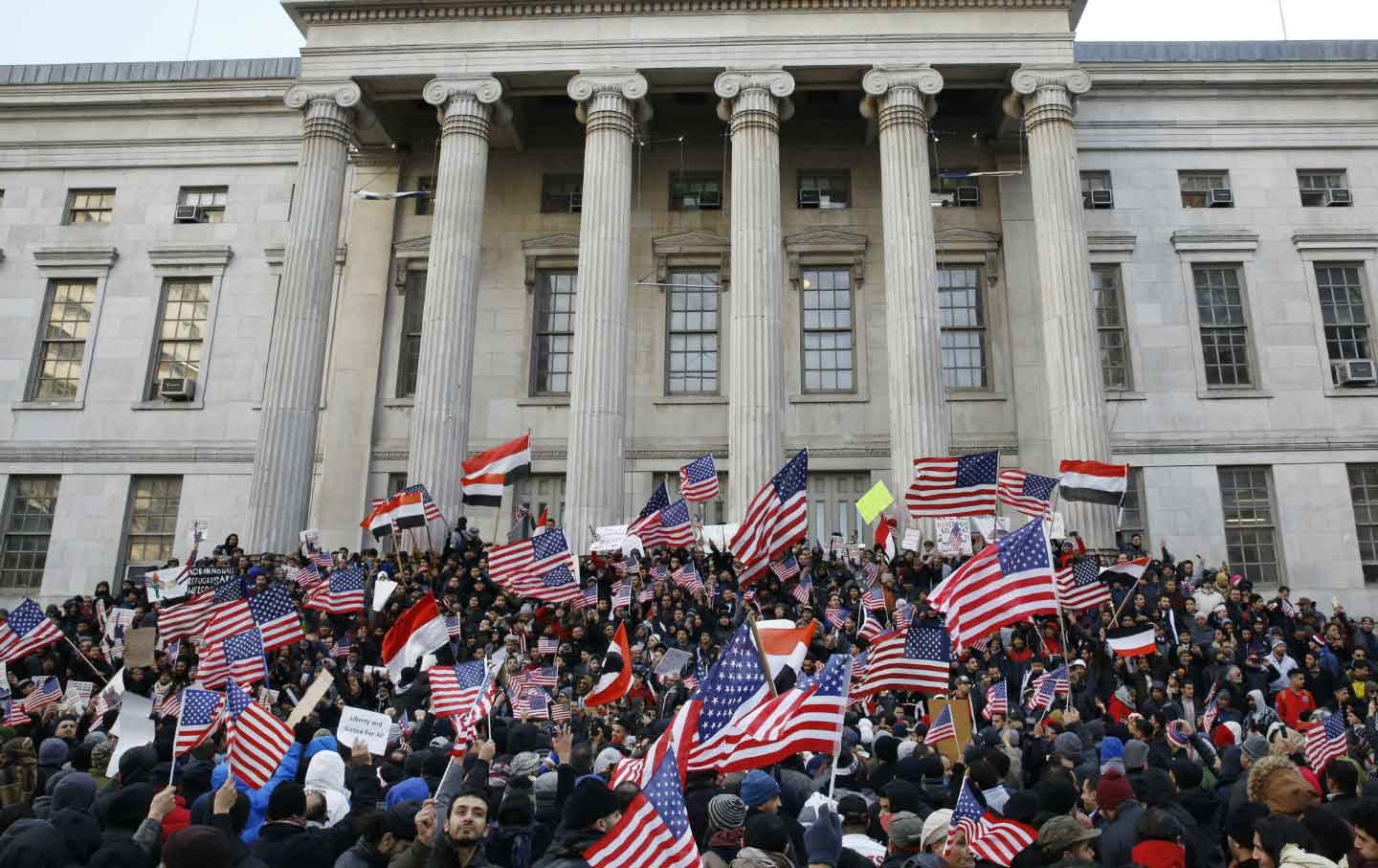 Borough Hall Trump Ban Protest