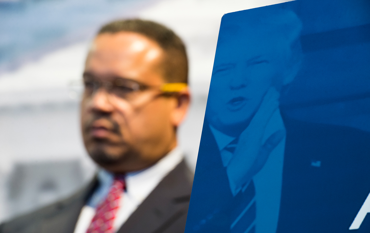 Keith Ellison with Trump poster