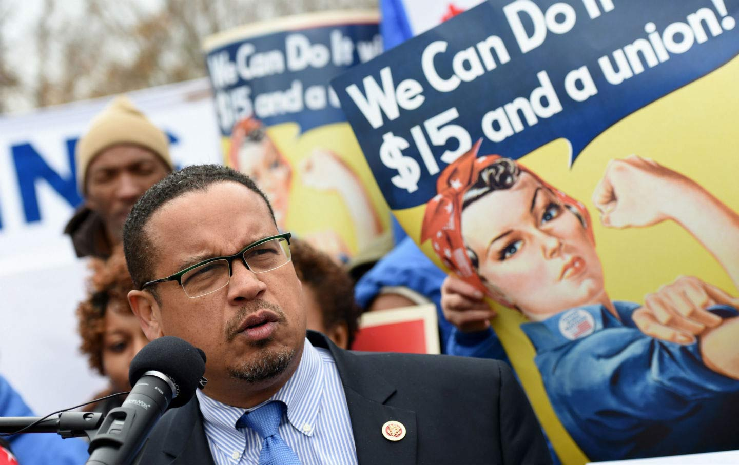 US Senator Keith Ellison at Labor Rally