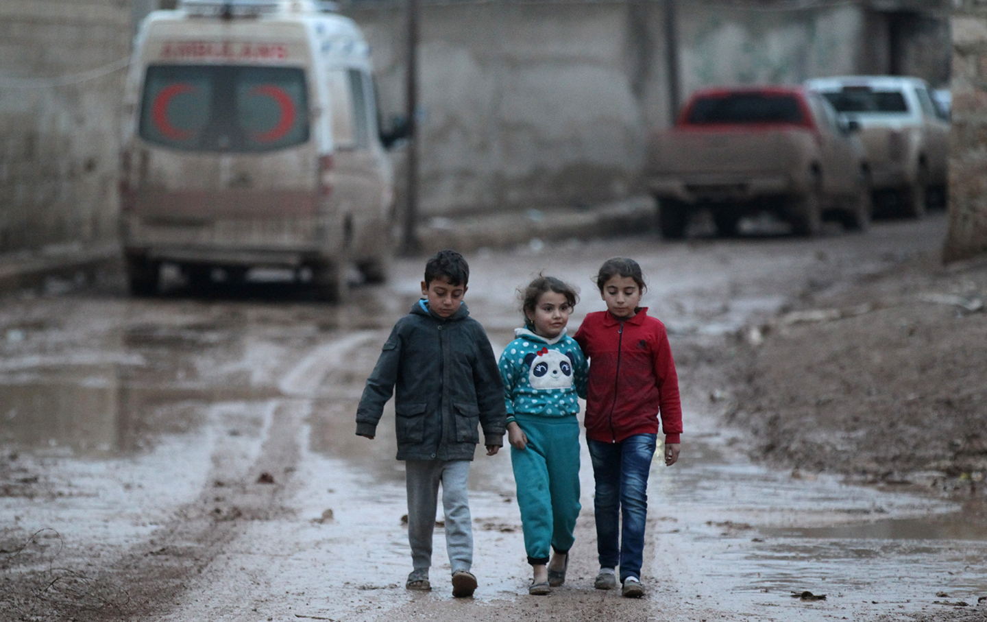 Children walking near Aleppo