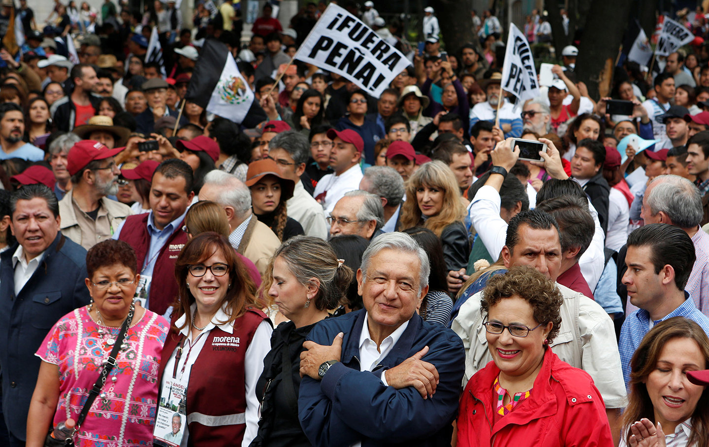 Demosntration with Lopez-Obrador