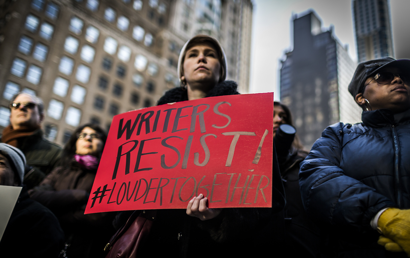 Hundreds of writers, artists and activists protest president-elect Trump.