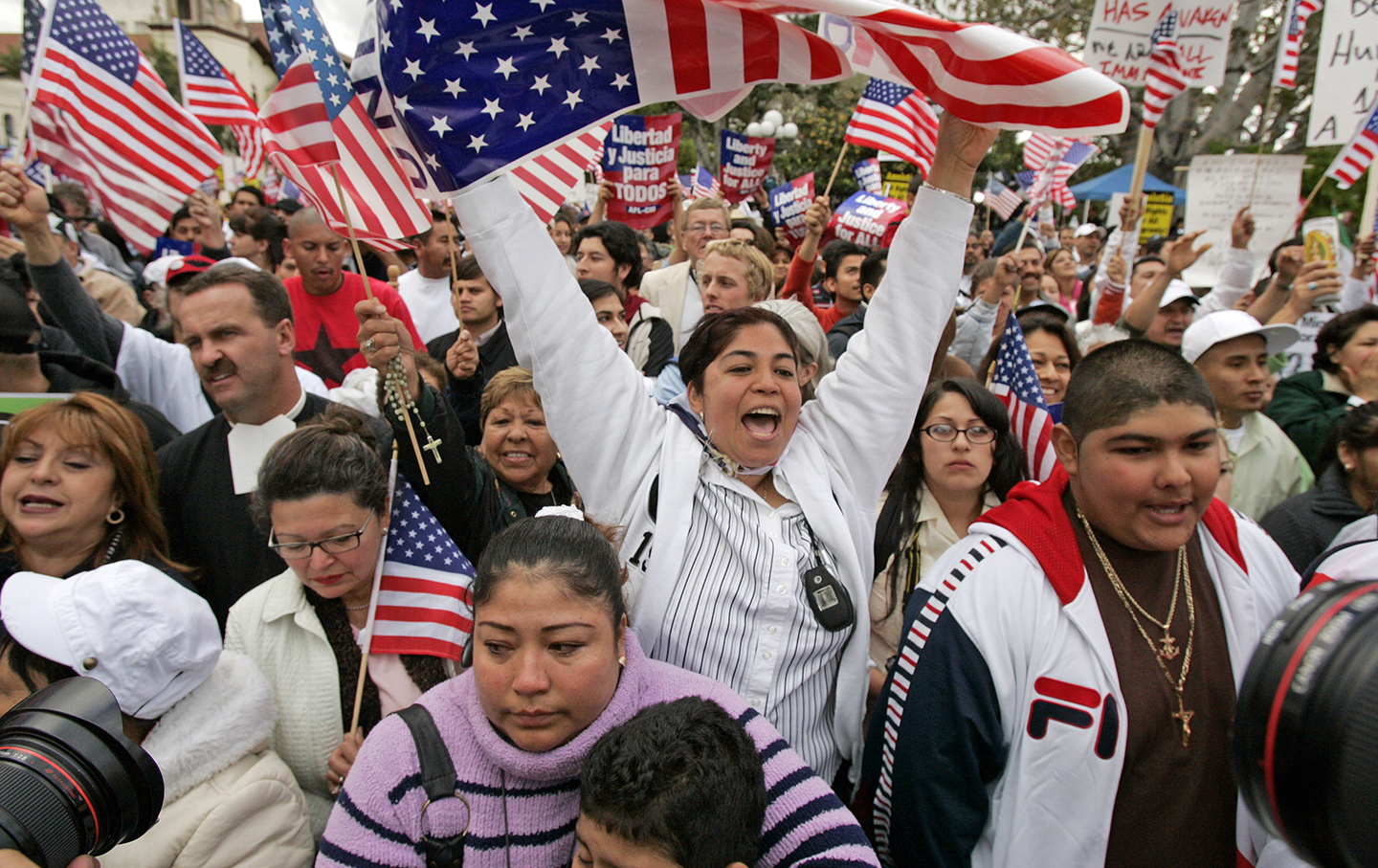 Immigration rights demonstrators rally in downtown Los Angeles, Monday, April 10, 2006.
