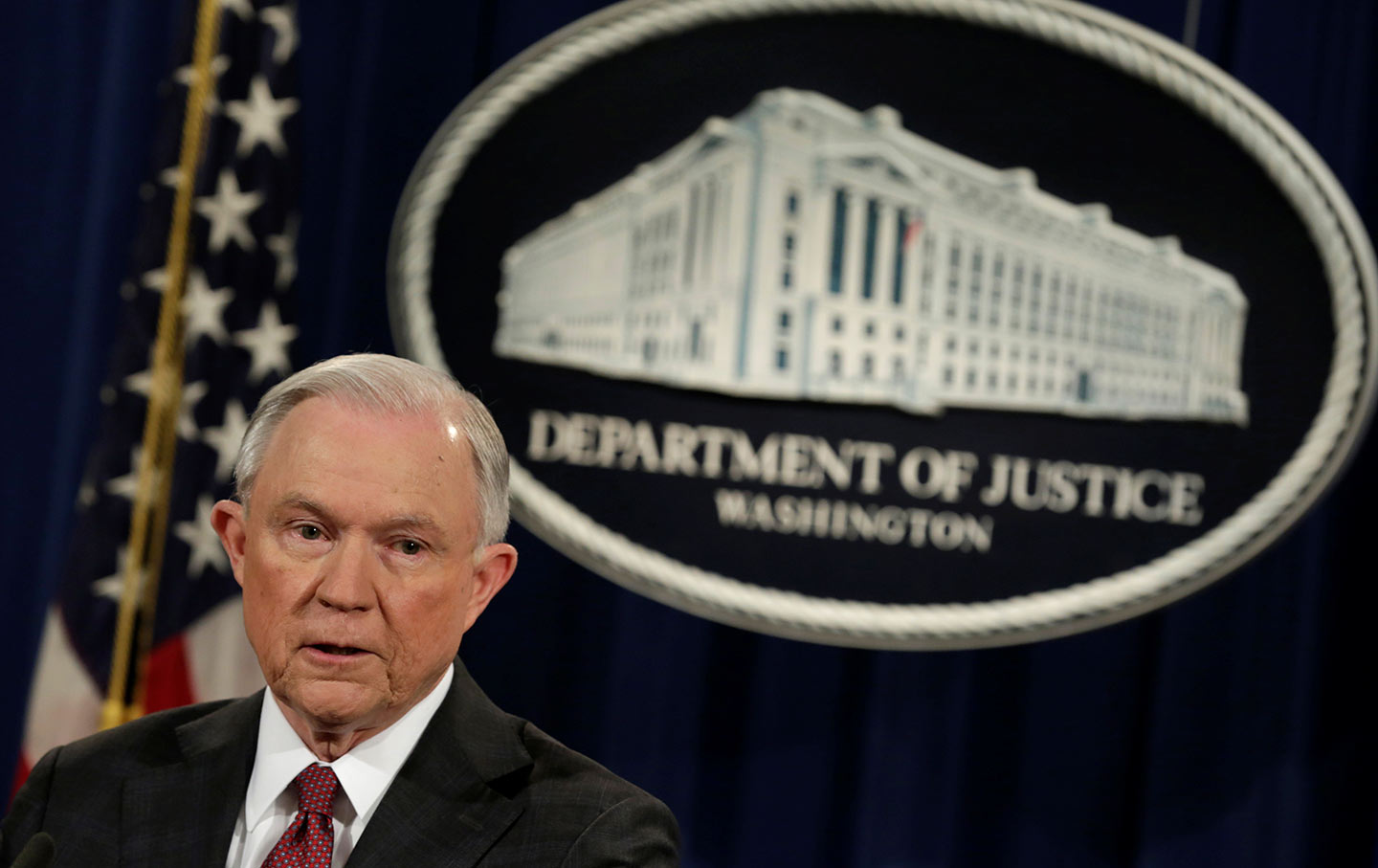 Jeff Sessions at a news conference