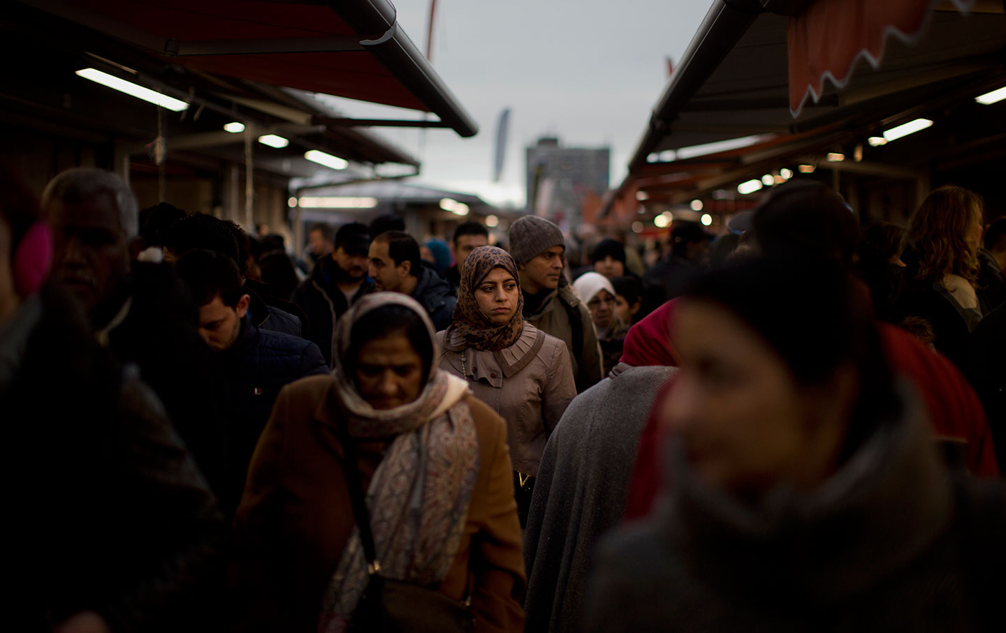 Crowded market at The Hague