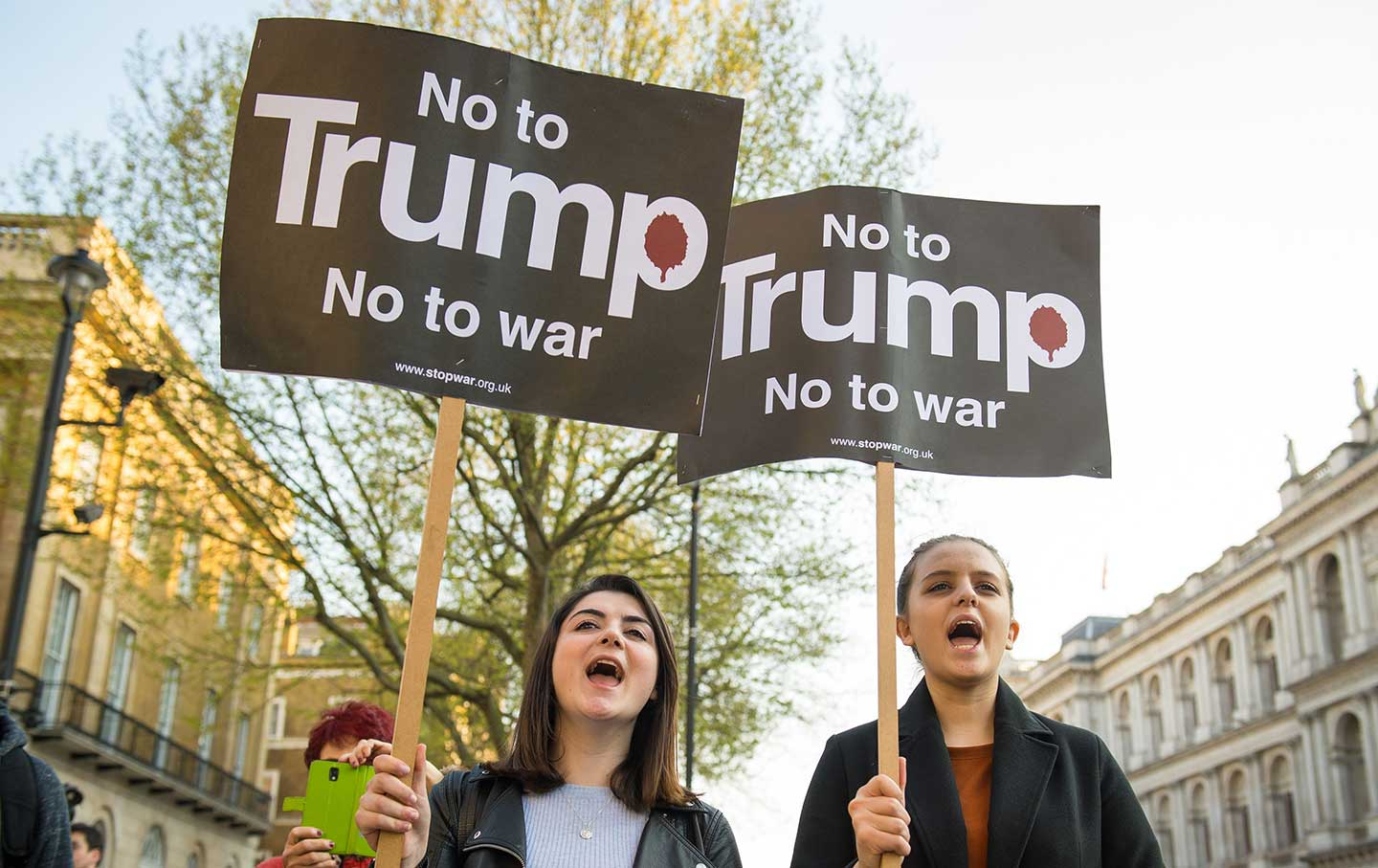 Syria demonstration. Protestors from the Stop the War Coalition take part in a demonstration outside Downing Street, in Westminster, London on Friday, April 7, 2017.