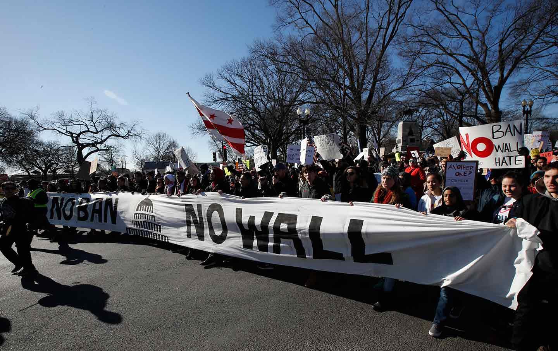 """Anti-Trump """"No Ban, No Wall"""" Demonstration"""
