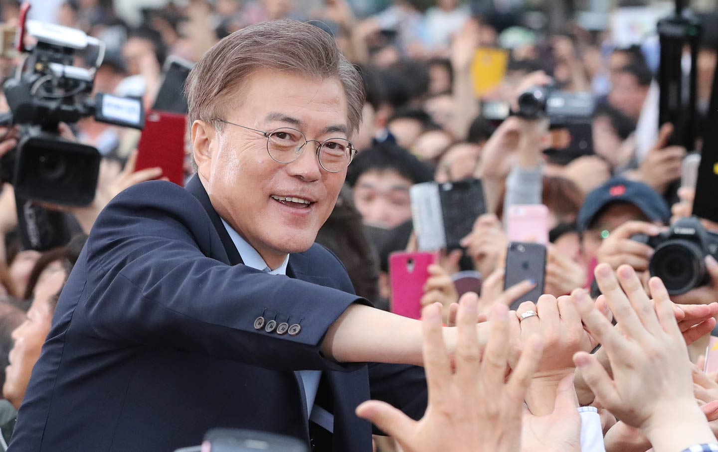 South korean president moons gamble for peace with north korea has south korean president moon jae in is greeted by his supporters in goyang may 4 2017 ap photo lee jin man ccuart Choice Image