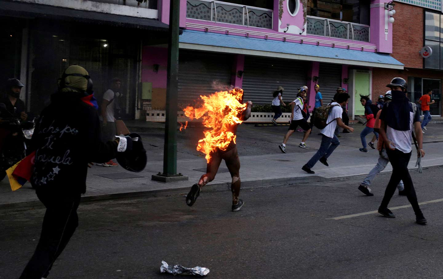Man on Fire in Caracas