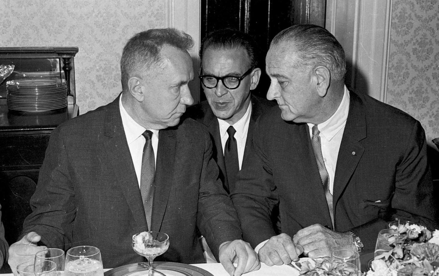 Soviet Premier Alexei N. Kosygin meets with President Lyndon Johnson