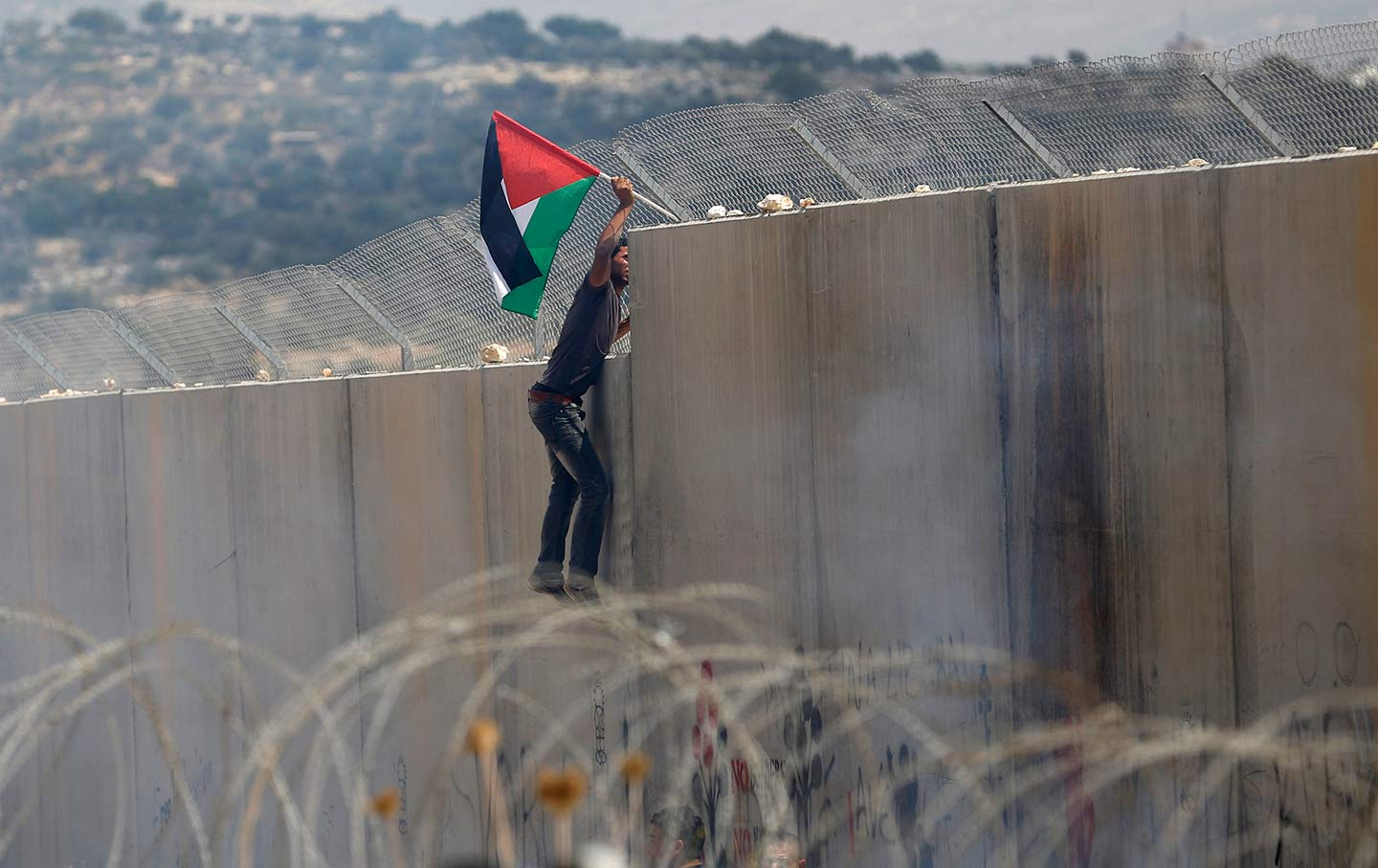 Palestinian Protestor Plants Flag