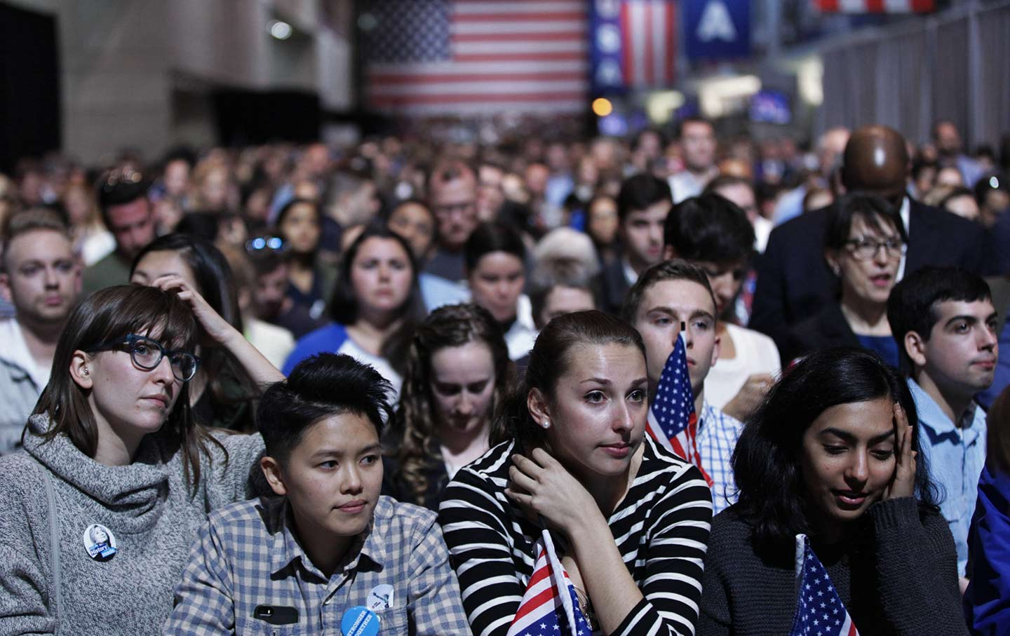 Supporters of the Democratic candidate Hillary Clinton at the Jacob K. Javits Convention Center in New York on November 9, 2016.