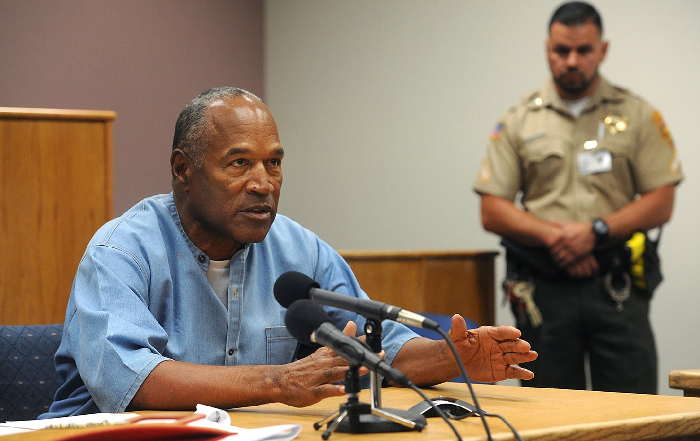 Former NFL football star O.J. Simpson appears for his parole hearing at the Lovelock Correctional Center in Lovelock, Nevada, on Thursday, July 20, 2017.