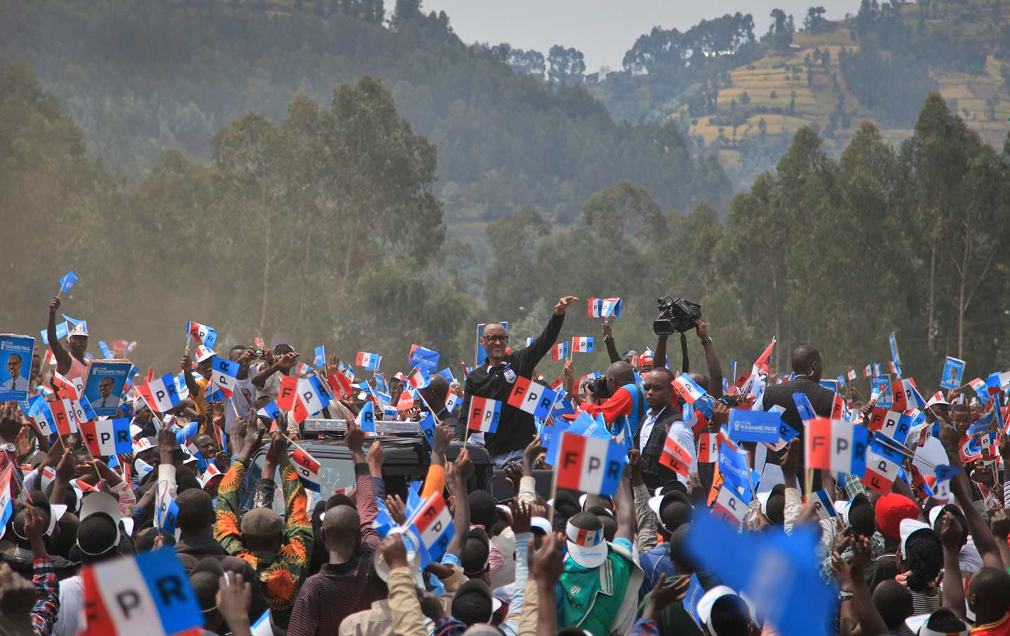 Rwandan President Paul Kagame attends a campaign rally