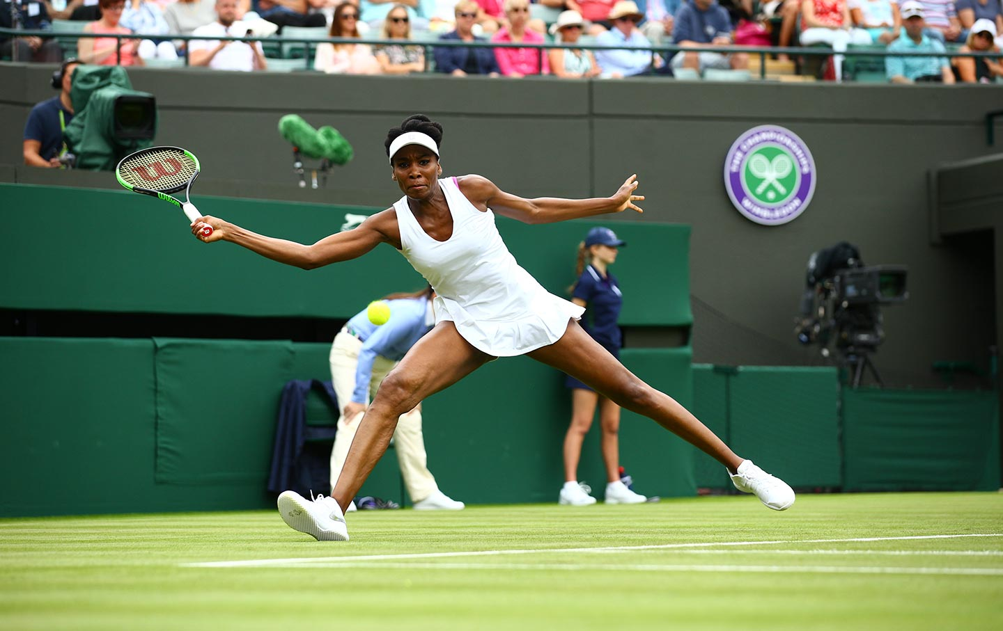 Venus Williams during her first match of the 2017 Wimbledon tournament on July 3, 2017.