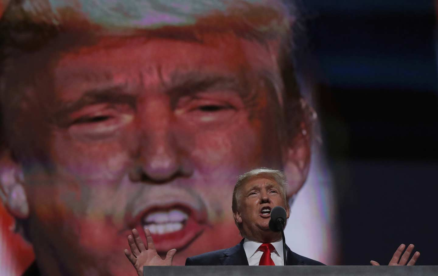 Donald Trump speaking at the final session of the Republican National Convention in Cleveland, Ohio.