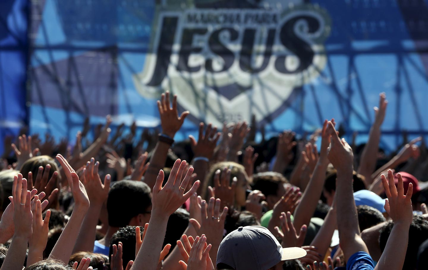 Thousands of people attend the March for Jesus in São Paulo, Brazil, on June 4, 2015.