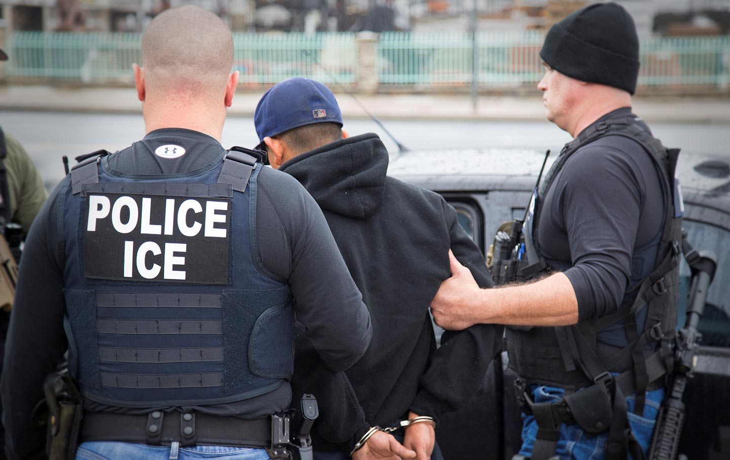 ICE officers detain a suspect in Los Angeles, California.