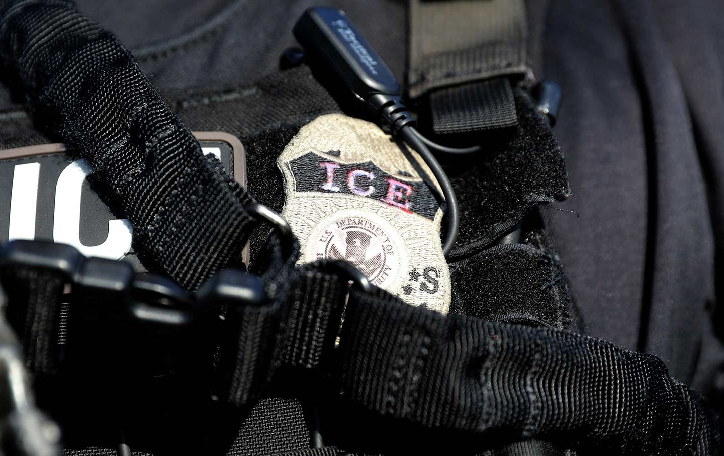 The badge of a U.S. Immigration and Customs Enforcement (ICE) officer.