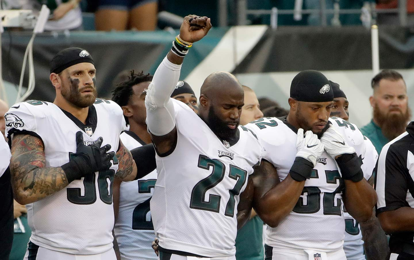 Philadelphia Eagles' Malcolm Jenkins raises his fist during the national anthem on Thursday, August 17, 2017.