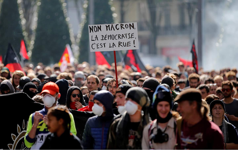 Macron protest