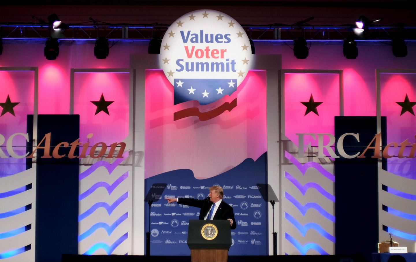 U.S. President Donald Trump addresses the Values Voter Summit