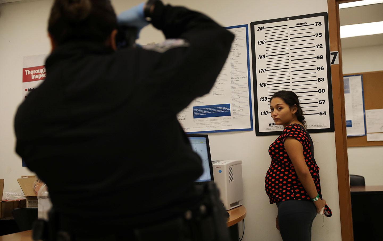 A pregnant woman seeking asylum