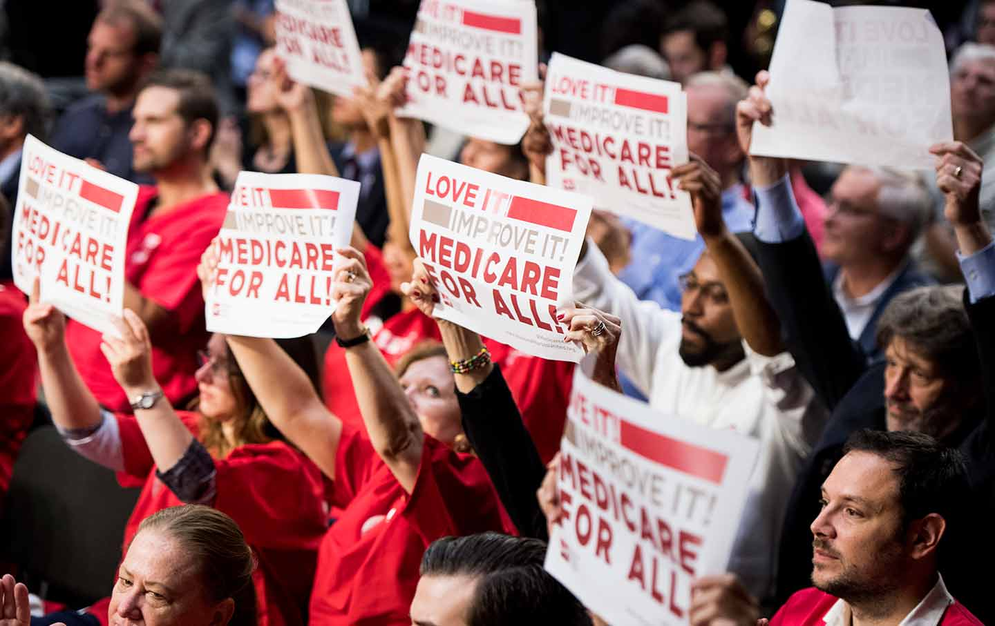 supporters of medicare for all rally at a bernie sanders event on september 13 associated press bill clark
