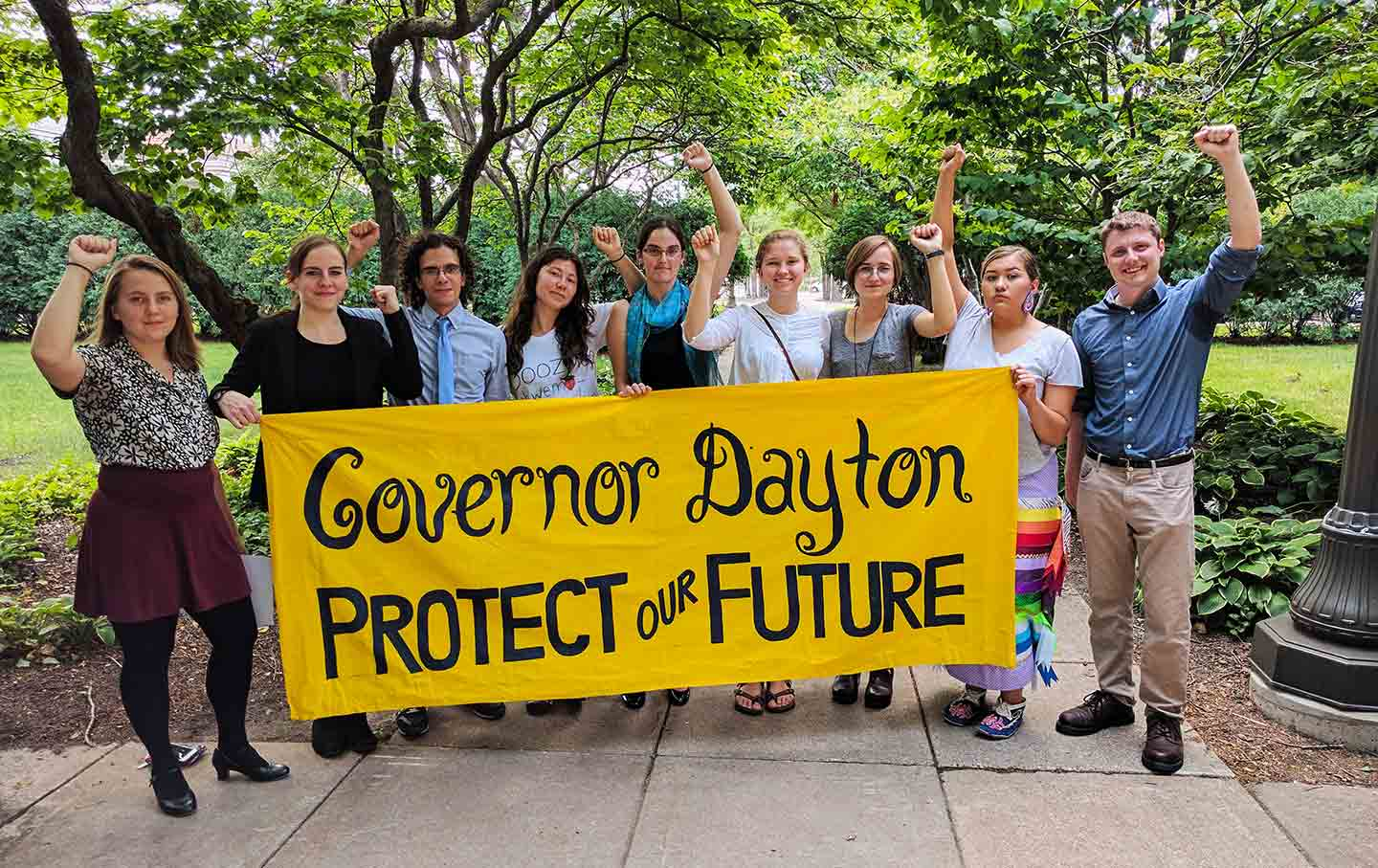 db52f68cba57 The Youth Climate Intervernors after delivering a petition to the office of  Minnesota Governor Mark Dayton in St. Paul