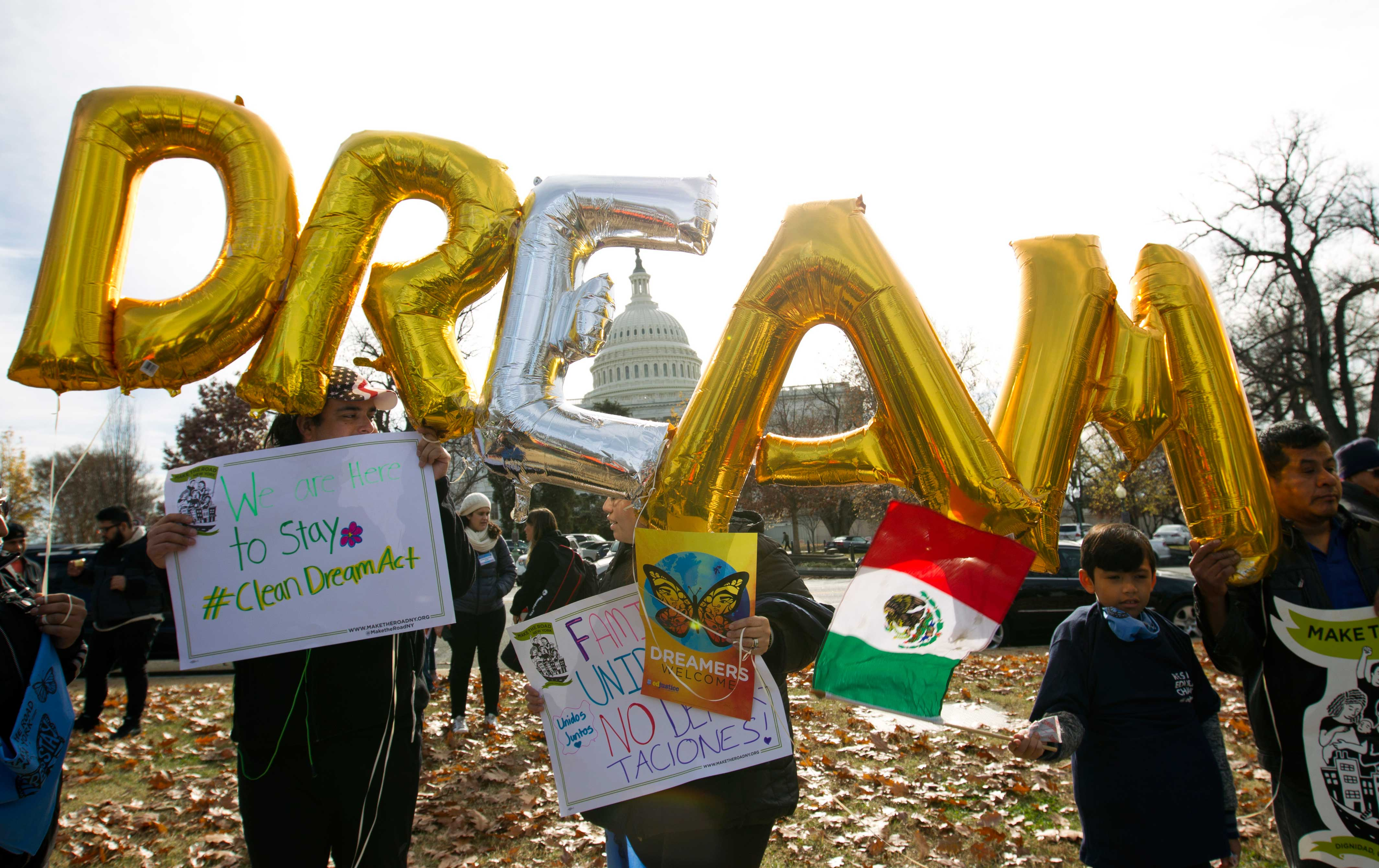 Supporters of the Dream Act protest in Washington, DC.