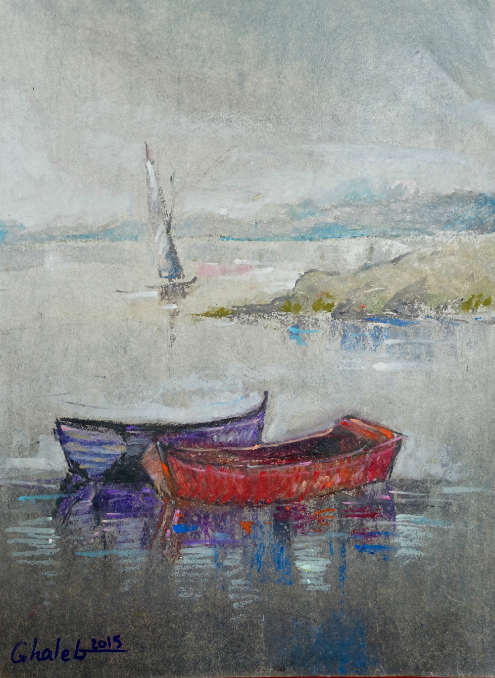 Untitled (Red and Purple Boats)