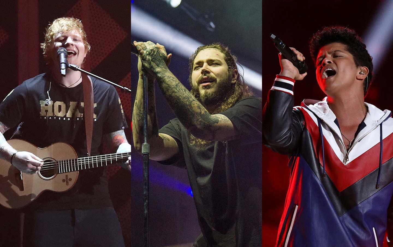 Sheeran, Malone, Mars