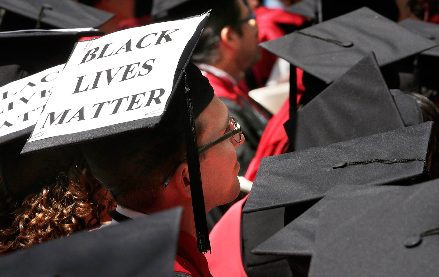 A Graduate Student Of Harvard Law School Displays The Message Black Lives Matter On His Mortarboard During University Commencement Exercises