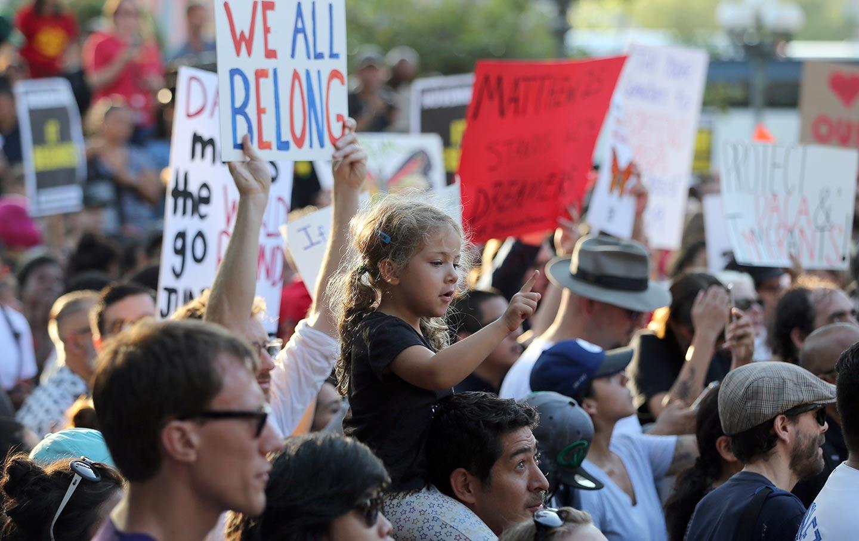 Child at Trump protest