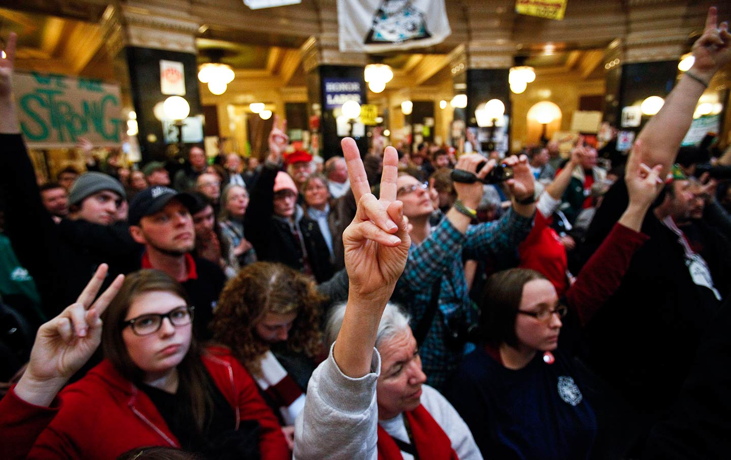 Protesters in the Wisconsin Capitol, February, 2011