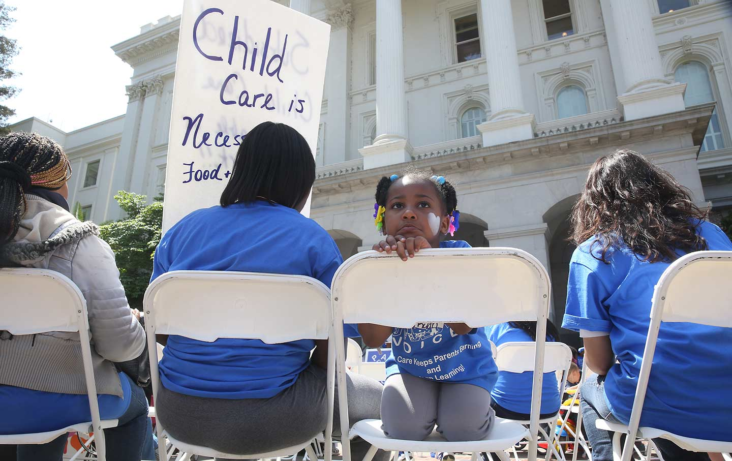 Little girl at child care rally CA