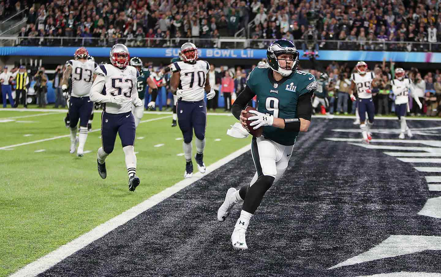 49910ca74a2 Philadelphia Eagles quarterback Nick Foles catches a touchdown pass during  the NFL Super Bowl LII against the New England Patriots, February 4, 2018.