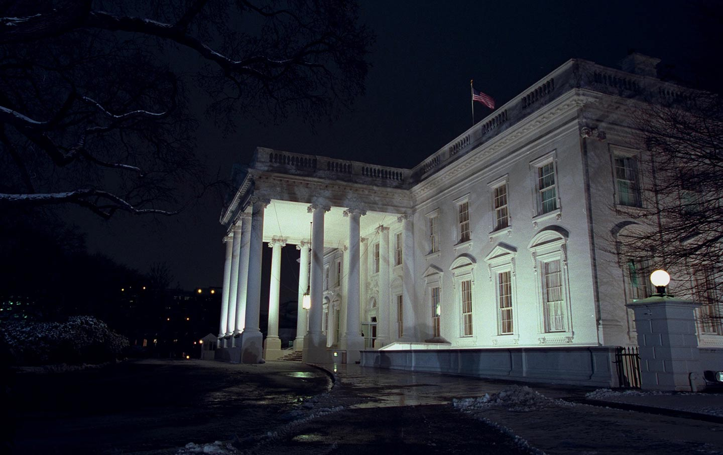 Undated photo of White House on dark night