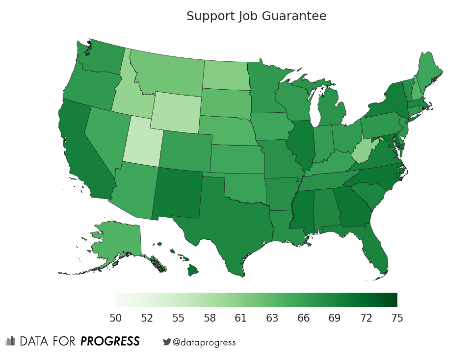 Map depicting support for jobs guarantee across US states