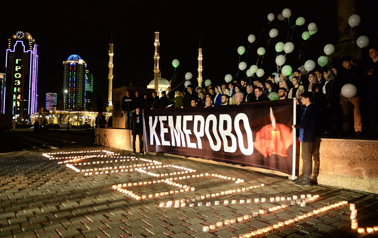 Event in Grozny in memory of those killed in the Zimnyaya Vishnya shopping mall fire in Kemerovo
