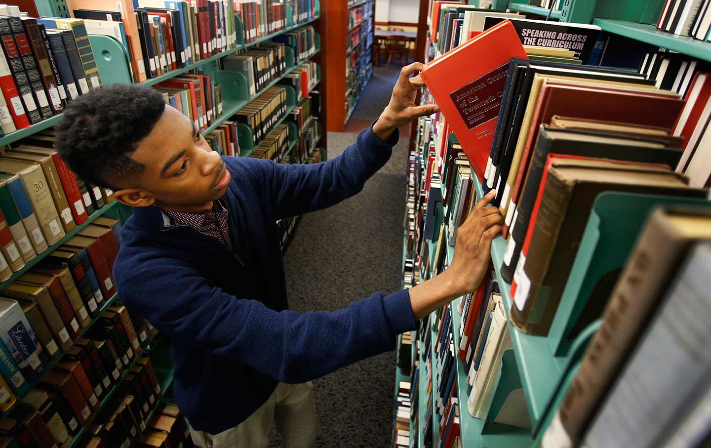Black Male Student at Library