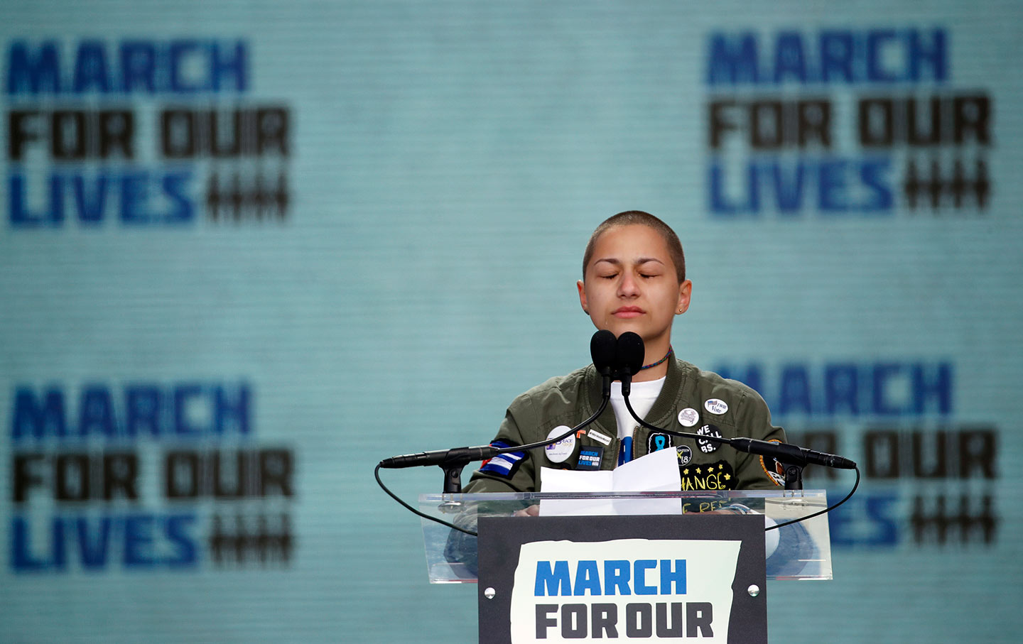 Emma Gonzalez takes moment of silence at March for Our Lives