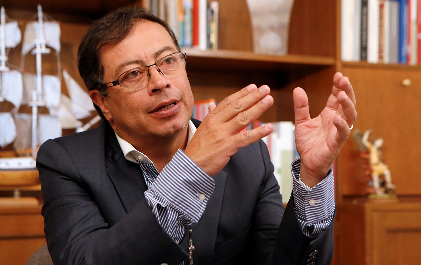 Colombian Presidential Candidate Gustavo Petro Speaks With An Interviewer In Bogota Colombia On April   Reuters Jaime Saldarriaga