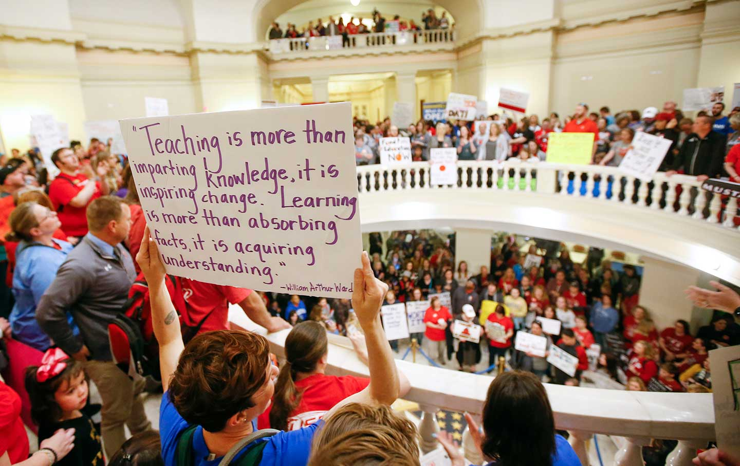Teachers and supporters of increased education funding pack the first and second floors of the state Capitol during the second day of a walkout by Oklahoma teachers.
