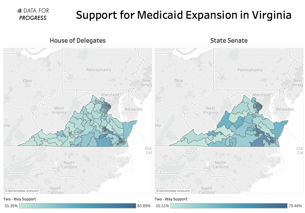 Chart showing support for Medicaid in Virginia