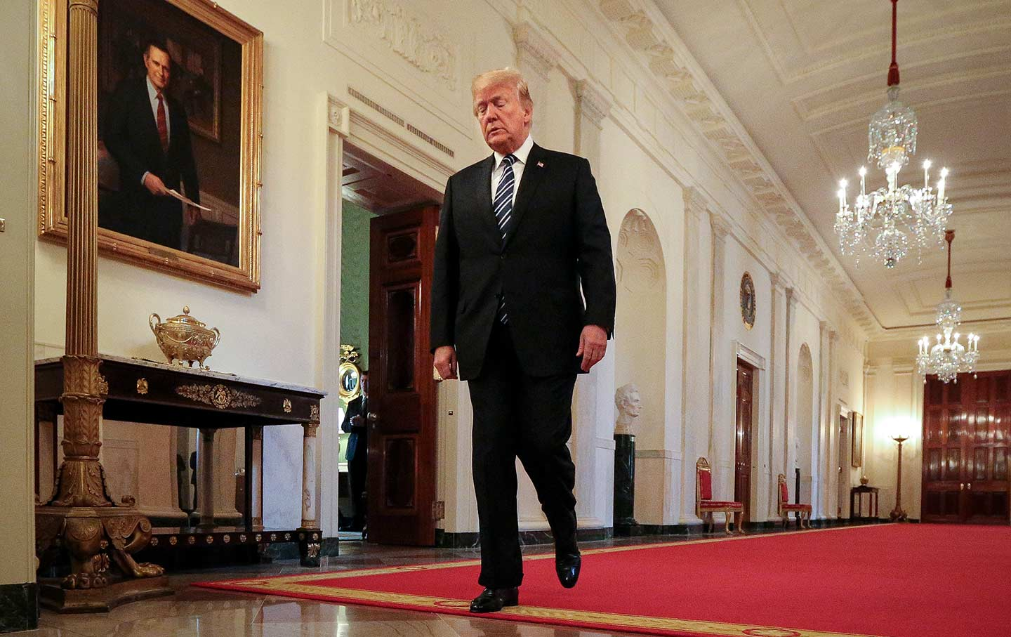 Trump walking east room