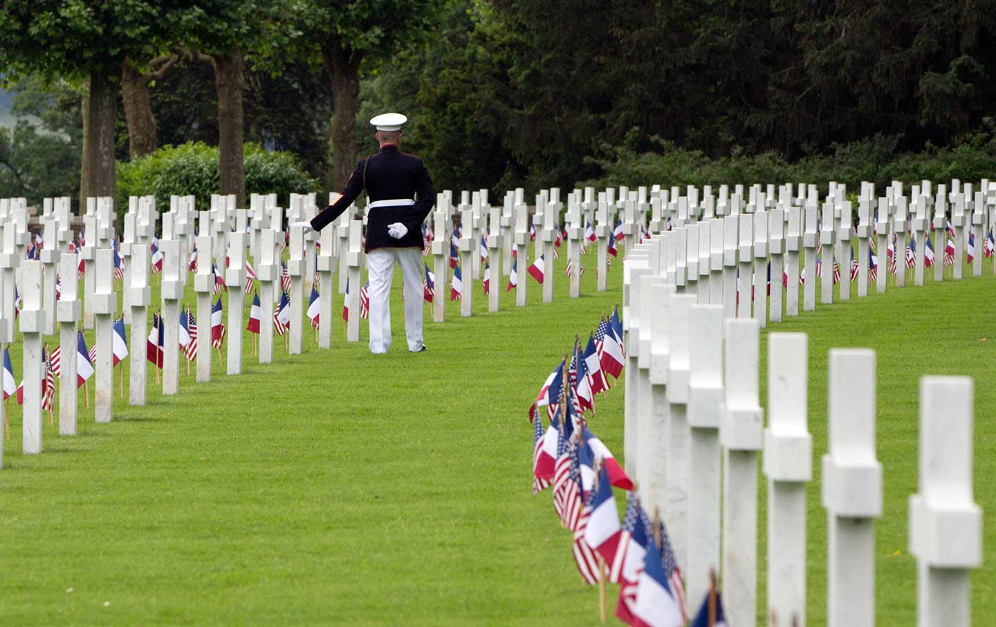 Marine walks through WWI cemetery