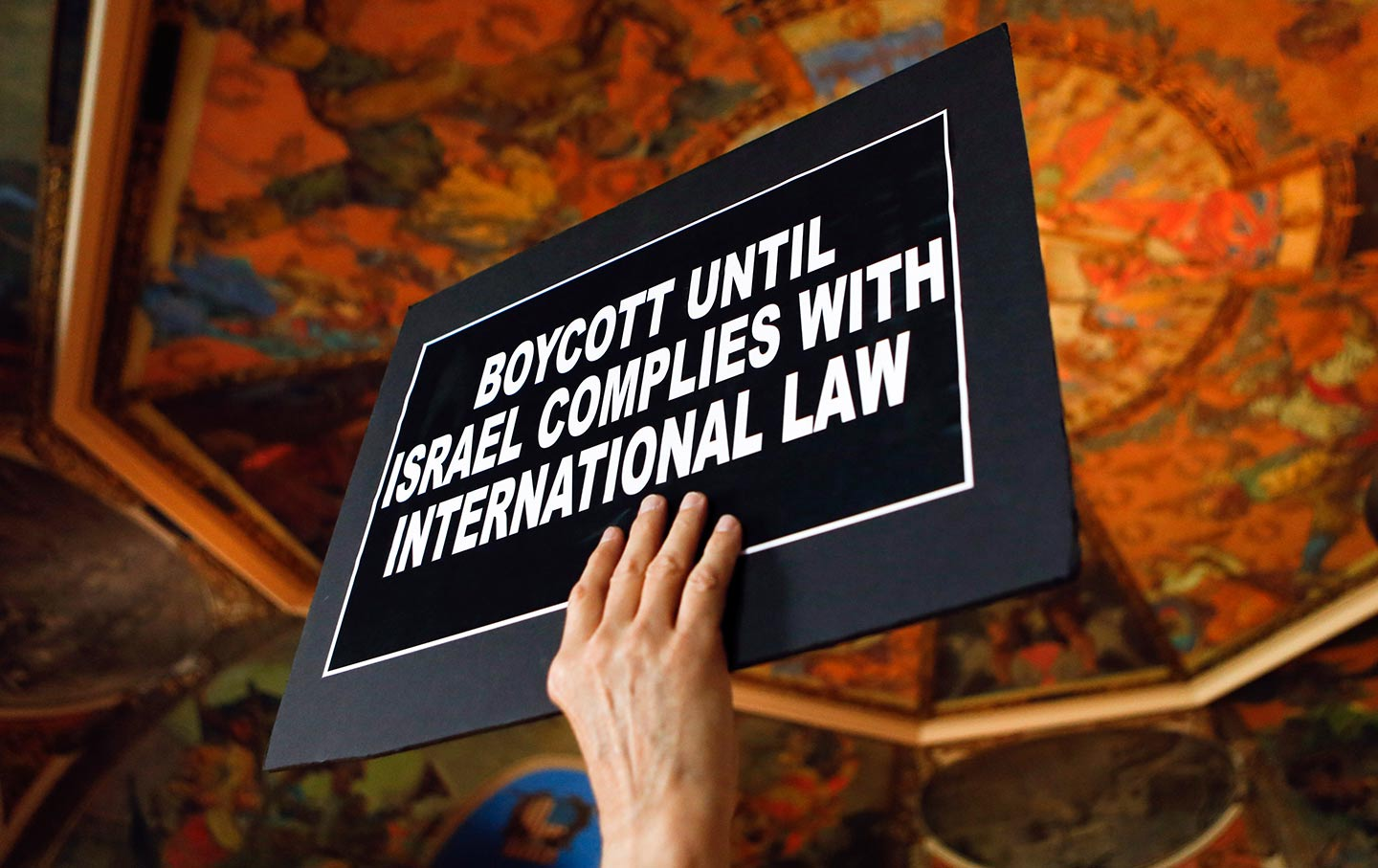 Boycott, Divestment and Sanctions (BDS) sign